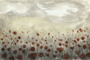 Poppies in a storm by Skogflickan