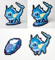 FOR SALE Perler Bead Vaporeon w/ Water Stone Stand by NerdyNoodleLabs