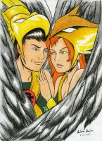 Hawkman and Hawkgirl Everlasting Love by WibbitGuy