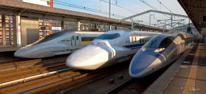 Tripple Shinkansen by dragonslayero