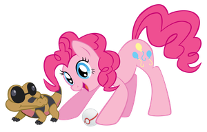 Pinkie Pie and Gummy the Sandile by Eeveetachi