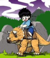 Max riding a triceratops (color by neloku) by dcrisisbeta