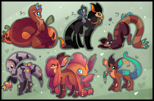 6 FREE creature adoptables CLOSED by Pettablez