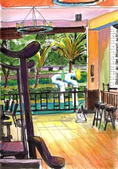 #399 - Raining at the poolside by Art-Chap-Enjoin