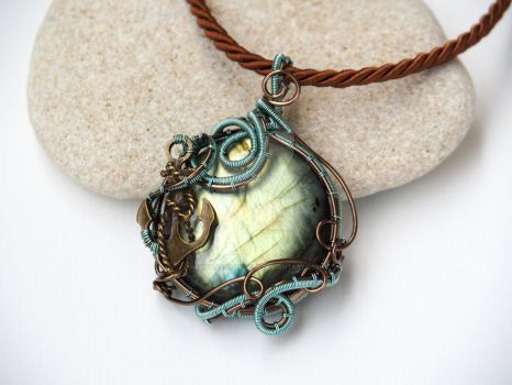 Labradorite wire wrapped pendant with anchor by IanirasArtifacts