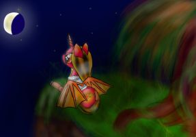 Fire Hoof Watching The Moon by Peach-the-mouse