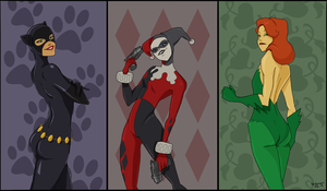 Catwoman, Harley Quinn and Poison Ivy by SofiBS