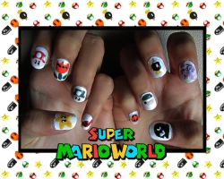 Super Mario World Nail Art by trentsxwife
