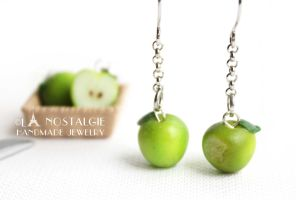 Bitten Smitten Green Apple Handmade Dangle Earring by LaNostalgie05