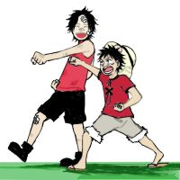 One Piece Luffy and Ace by TheEmptyBoy
