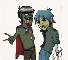 2D and Murdoc by TheTwiggyDance