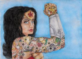 Tattoed wonder woman by minihumanoid