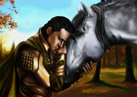 Loki and Sleipnir by Kulibrnda