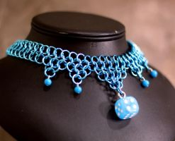 Shiny Blue Dice Necklace by Utopia-Armoury
