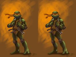 Comicninja Mikey 3-D by Ninja-Turtles