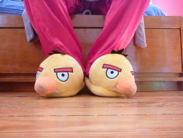 Yellow Angry Birds Slippers by ExileLink