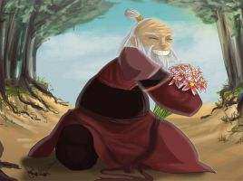 Iroh and his flowers by girlzOr