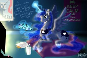 Princess luna playing videogames by Daughter-of-Fantasy