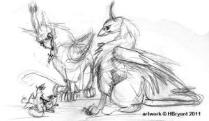 Gryphons Feeding Young by halfbreed