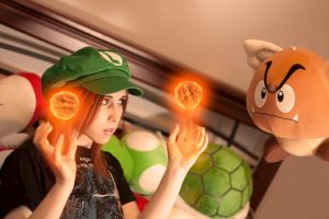 Luigi girl vs flying Goomba by Stephanie-van-Rijn