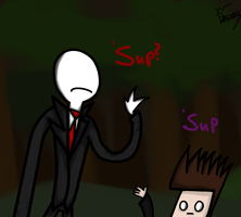 When Skuff meets Slender - Drawing for Sean. by MrDynasty