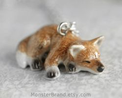 Sleepy Fox Necklace by MonsterBrandCrafts