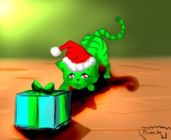 Green Christmas Kitty by Flamestar21