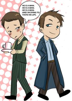 Ianto and Jack by Bloodmilkk