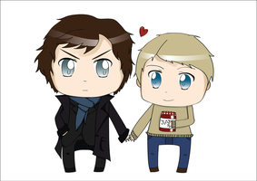 BBC Chibi Sherlock and John by EmailinasBrother