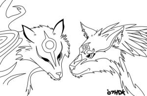 Wolf Link and Ammy Lineart by TheHarlequinDemon