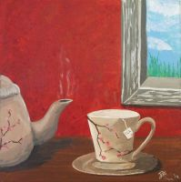Teapot and Tea Cup Painting by Graphix-Goddess