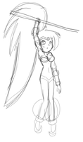 Shantae Pole Hanging - Sketch/WIP by ParagonOfSonamy