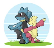 Meinfoo and Riolu by Coshi-Dragonite