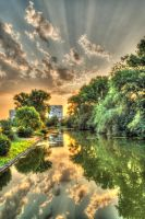 Waterscape from city park Yambol HDR by Th3R3v3nan7