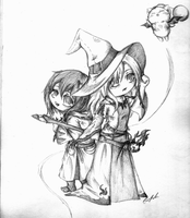 Okiku and Rose: White and Black Mages by SpectralPony