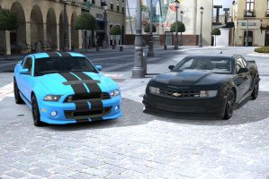 2 Customized Muscle cars by NightmareRacer85