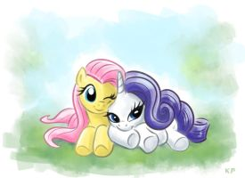 Fluttershy and Rarity by KP-ShadowSquirrel