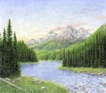 River by the Grand Tetons by Choedan-Kal