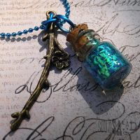 Mini Enchanted Blue Bottle Fairy Necklace by Tsubasa-No-Kami