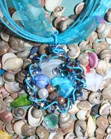 Blue seashell bottle cap necklace by SuperFlashDance