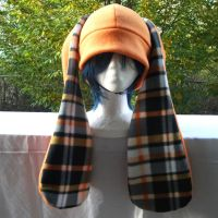 Orange and Plaid Bunny hat by Chochomaru