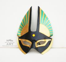 Egyptian Half Mask With Green Accents Yellow gem by nondecaf