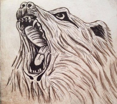 Dry point print, fine liner mixed media by WolfofNight11