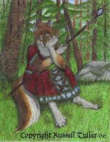 Wolf Anthro Sitting in Forest by RussellTuller
