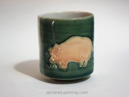Pig on a cup by skimlines
