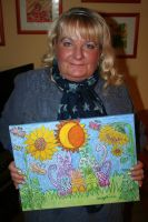 painter with her work by ingeline-art