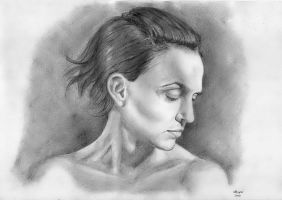 Woman Drawing Pencil by Martin-Lyne