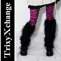 TX Black Furry Leg Warmers by TrixyXchange