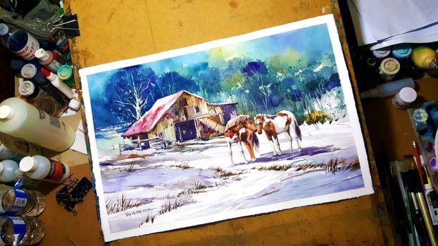 Pinto Farm - Watercolour Painting by Abstractmusiq