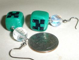 Minecraft Disco Creeper earrings -polymer clay by Brisbykins